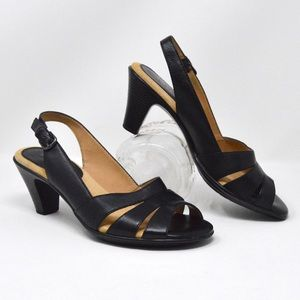 Neima Slingback Black Leather Sandals | Size 8-1/2